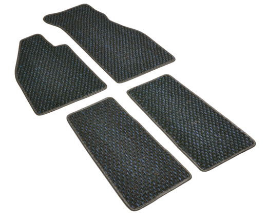 Floor mats, coco, 8.59-7.72, blue/black, footrest