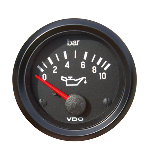 "Oliedrukmeter ""COCKPIT INTERNATIONAL"", 52 mm, zwart, 10 bar"