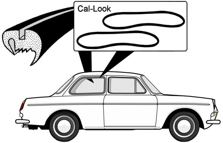 Zijruitrubber Cal-look, type 3 Notchback
